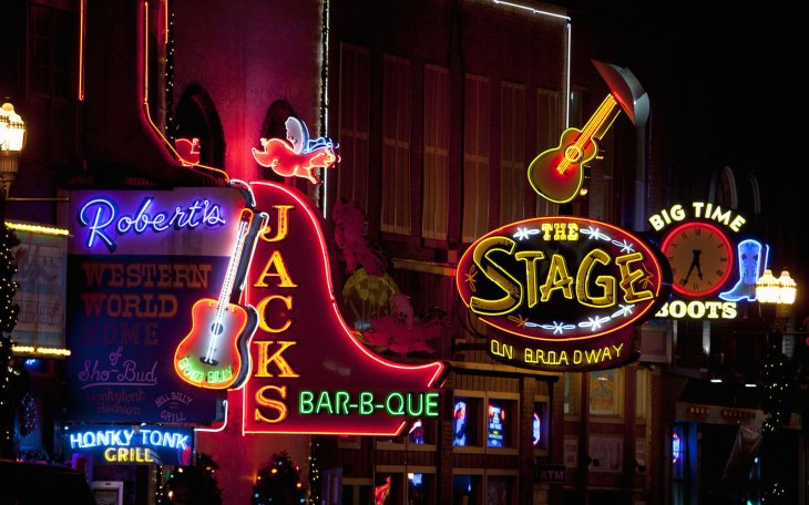 Neon Lights of Lower Broadway, Nashville, TN